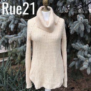 rue21 Cream Open Knit Cowl Neck Sweater-M-GUC